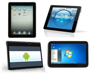 Four tablets with different operative systems