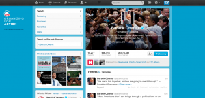 Barack Obama's Twitter Home Page