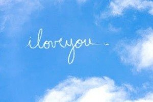 """I love you"" written across the sky"