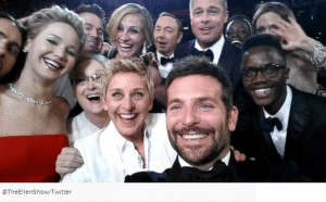 Ellen takes a selfie at the Oscars with her Samsung Galaxy