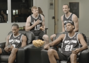 "Screen grab from H-E-B's Spurs commercial, ""One for each."""
