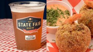 Image of the Big Tex's favorite dishes: the funnel cake ale and fried shrimp boil