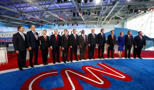 The candidates of the Republican Presidential Debate stand together after a combative, confrontational 3 hour dialogue.