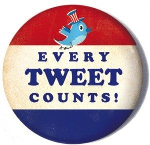 "Voter pin with the words""every tweet counts""."