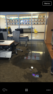 As a result of the storm, part of the SMU Cox Business library flooded, and was shared via social media with the student body.