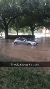 This SnapChat, provided by an SMU student, shows a car floating, rather than driving, down the SMU Boulevard.