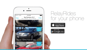 A picture of the layout of the app RelayRide.