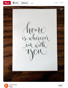 Calligraphy art linked to artist's Etsy shop for Pinterest: A Business' Best Friend