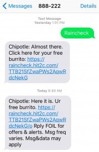 The text message coupon for a free burrito, sent out by the Chipotle reputation management team.