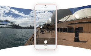 This photo demonstrates Facebook 360 on an iPhone