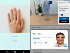 This image shows three examples of mobile apps who have a virtual-try on feature that will eliminate the need to shop in person. These examples in Tiffany's Engagement Ring App, Gap's App, and Warby Parker's App.