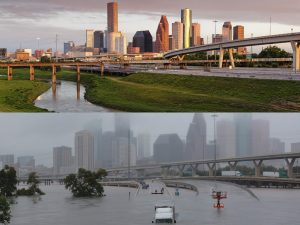 Side-by-side images of Houston before and after Hurricane Harvey to emphasize the importance that social media is saving lives.