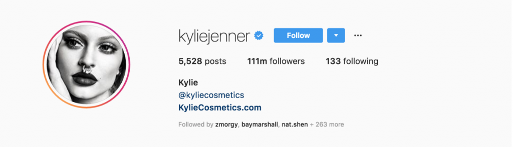 This is a picture of Kylie Jenner's social media effect. She has 111 million followers and uses her bio to cross-market.