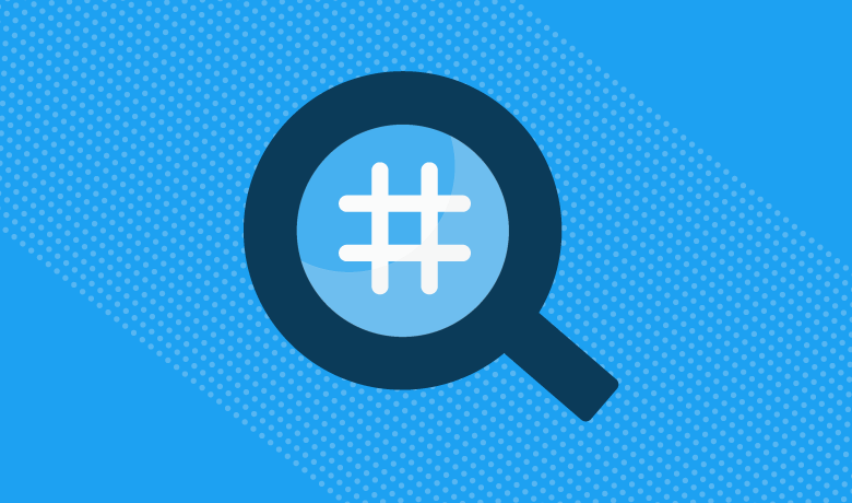 Blue magnifying glass with white hashtag inside