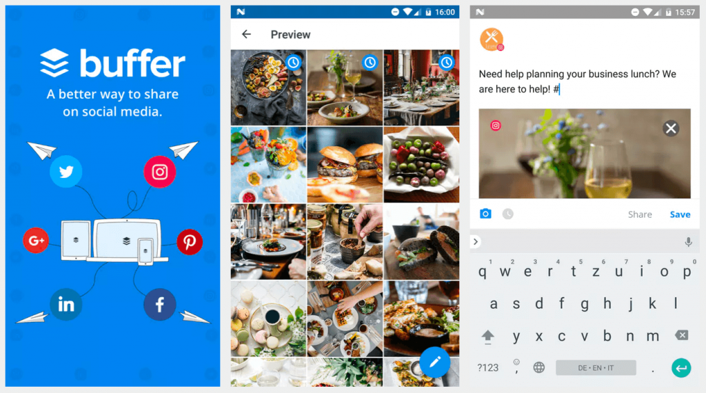 Mobile view of Buffer app, a social media publishing app
