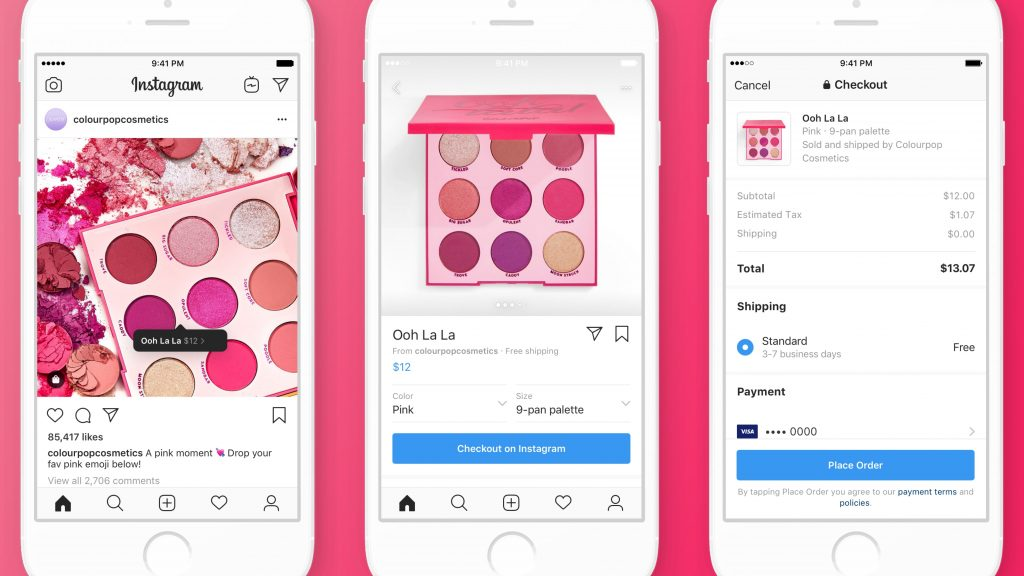 Instagram checkout shown on an iPhone