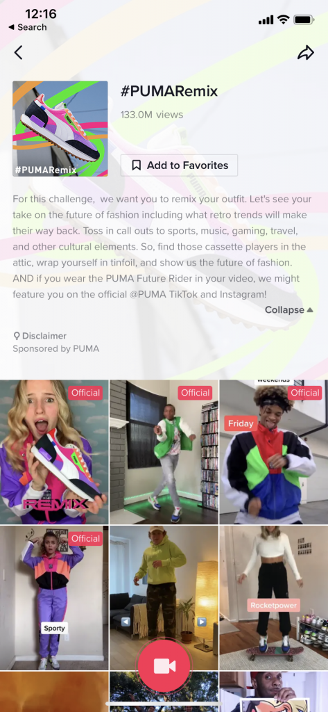 The description of the #PUMARemix campaign on TikTok.