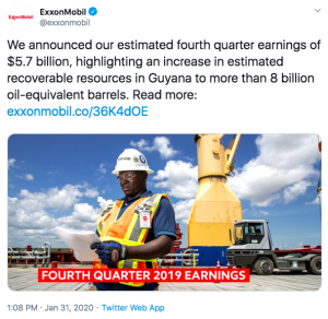 ExxonMobil highlights their accomplishments in their Twitter strategy