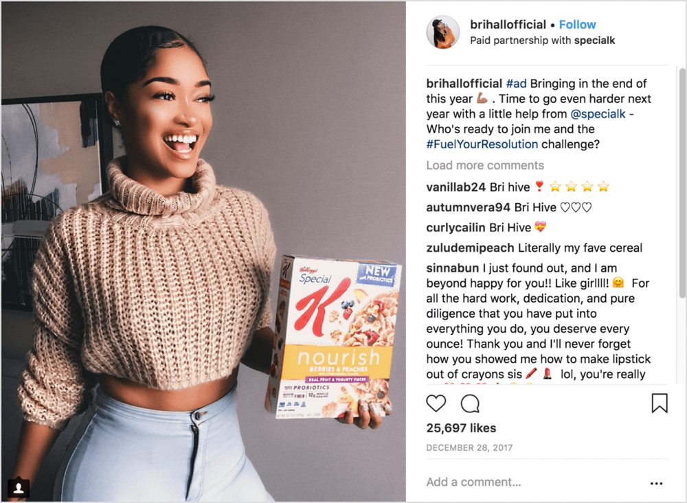 This is a sponsored influencer post for specialk cereal.